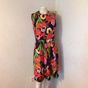 Vintage Vibrant Floral Dress M